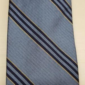Brooks Brothers 346 Blue Black Stripe Silk Tie Lng